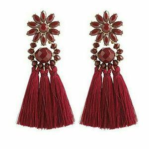 Tassel Drop Earrings In Wine Flower